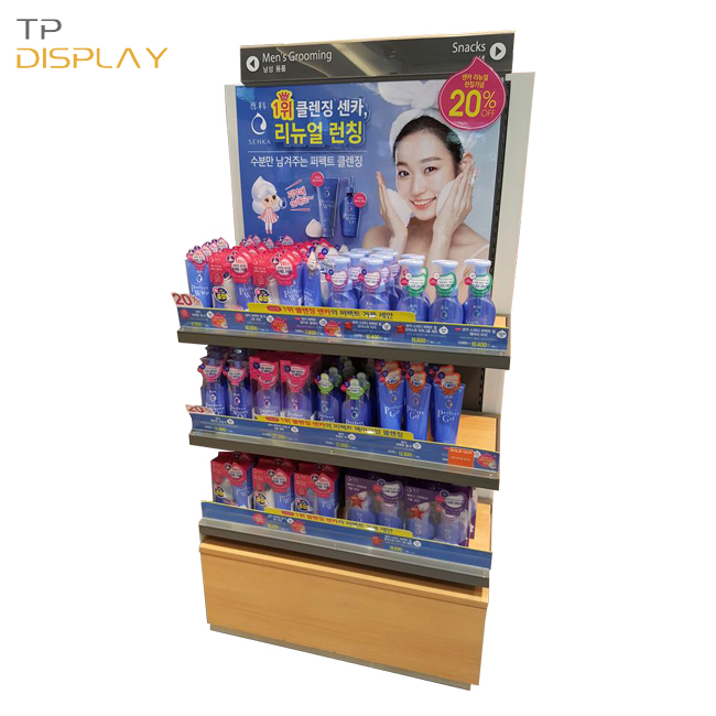 TP-CM015 fashionable wood material retail gondola for facial cleanser